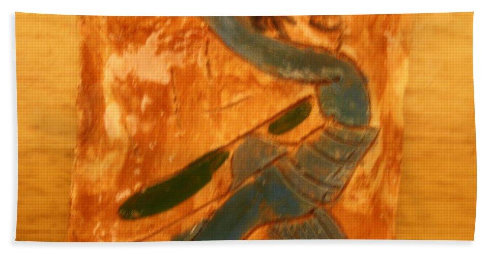 Jesus Beach Towel featuring the ceramic art Shake It - Tile by Gloria Ssali