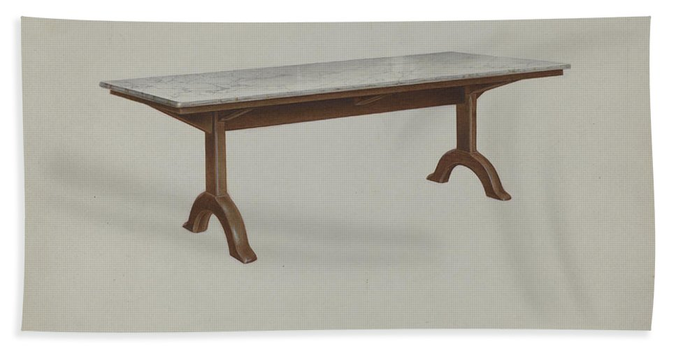 Beach Towel featuring the drawing Shaker Dining Table (marble Top) by John W. Kelleher