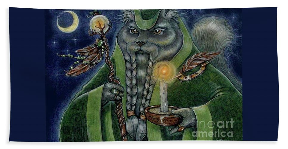 Cats Beach Towel featuring the painting Shaman's Moon by Sin D Piantek