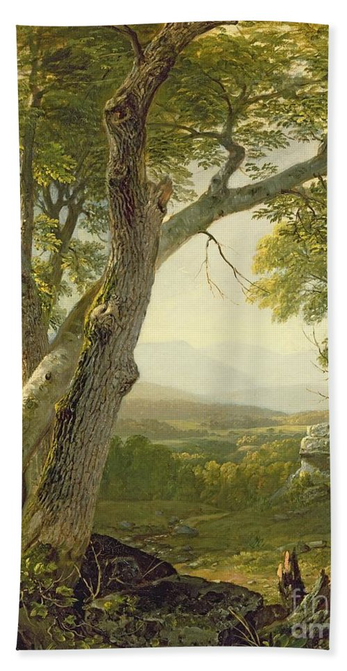 American Landscape; View; Romantic; Hudson River School; Mountains Beach Towel featuring the painting Shandaken Ridge - Kingston by Asher Brown Durand