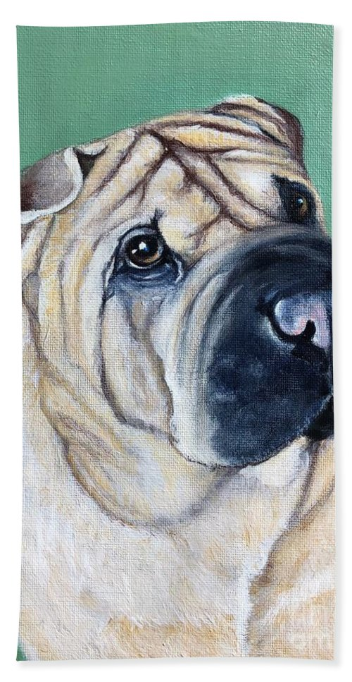 Dog Beach Towel featuring the painting Shar Pei by Charleena Treanor