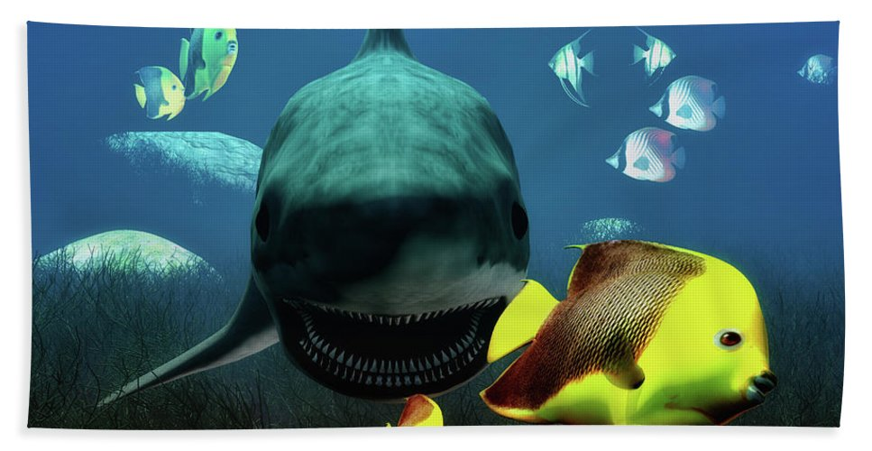 Shark Beach Towel featuring the digital art Shark And Fishes by Ramon Martinez