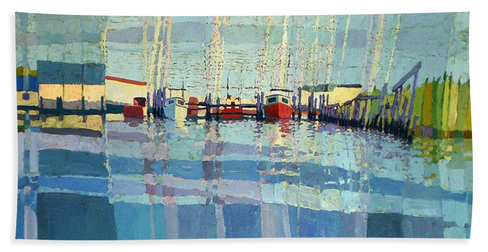 Belmar Inlet Beach Towel featuring the painting Shark River Inlet by Donald Maier