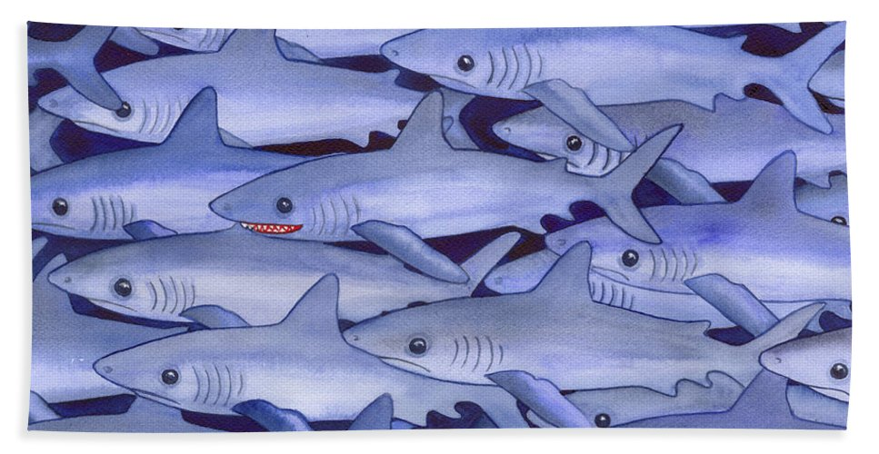 Shark Beach Towel featuring the painting Sharks by Catherine G McElroy
