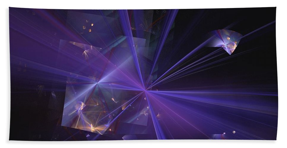 Abstract Digital Painting Beach Towel featuring the digital art Shattered by David Lane