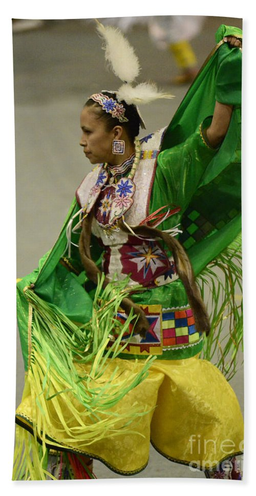 Pow Wow Beach Towel featuring the photograph Pow Wow Shawl Dancer 3 by Bob Christopher