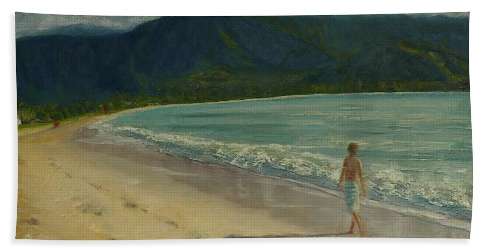 Hanalei Beach Towel featuring the painting She Looks Straight Ahead by Laura Toth