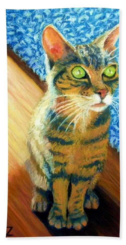 Cat Beach Towel featuring the painting She wants to be FAMOUS by Minaz Jantz