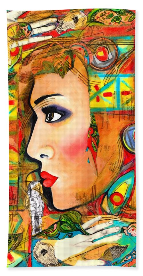 Woman's Face Beach Towel featuring the painting She Won't Let Her Past Haunt Her by Jacqueline Kern