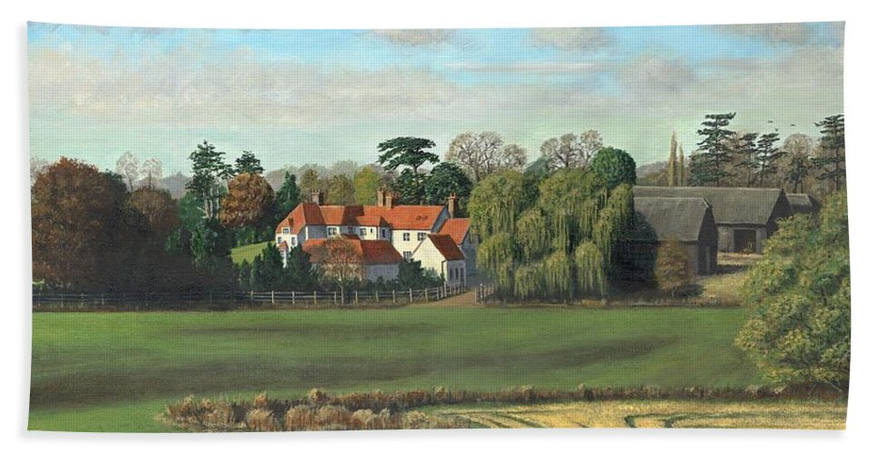 Landscape Beach Towel featuring the painting Sheering Hall Near Harlow Essex by Richard Harpum