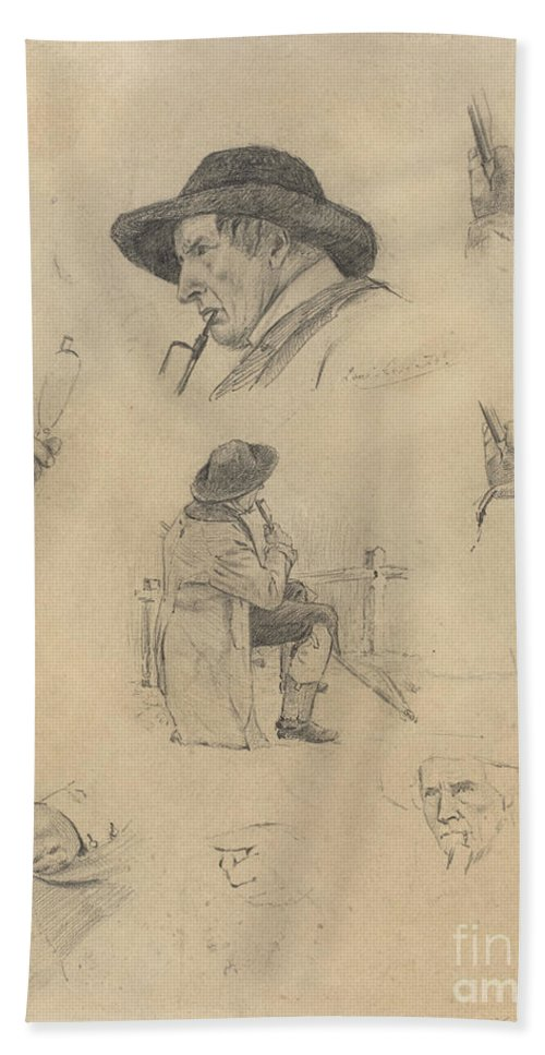 Beach Towel featuring the drawing Sheet Of Sketches by Lovis Corinth