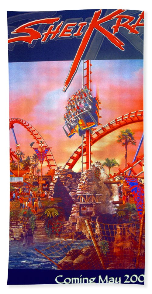Sheikra Ride Poster Beach Towel featuring the photograph Sheikra Ride Poster 3 by David Lee Thompson