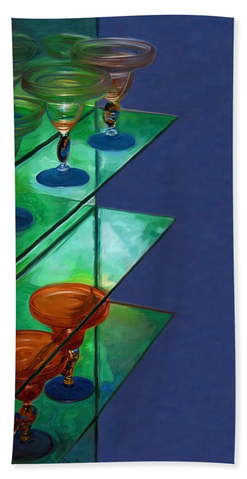 Still Life Beach Towel featuring the digital art Sheilas Margaritas by Holly Ethan