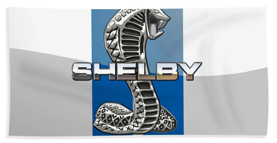 'auto Badges' Collection By Serge Averbukh Beach Towel featuring the photograph Shelby Cobra - 3d Badge by Serge Averbukh