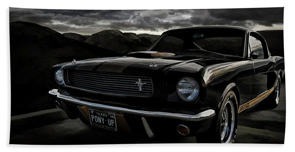 Mustang Beach Towel featuring the digital art Shelby Gt350h Rent-a-racer by Douglas Pittman