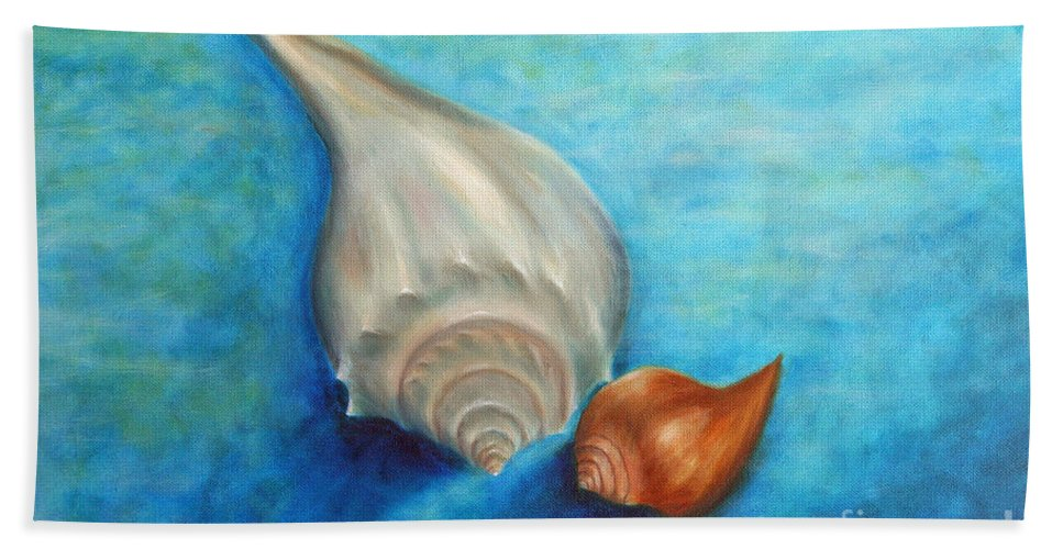 Seashells Paintings Beach Towel featuring the painting Shells In Blue by Gabriela Valencia