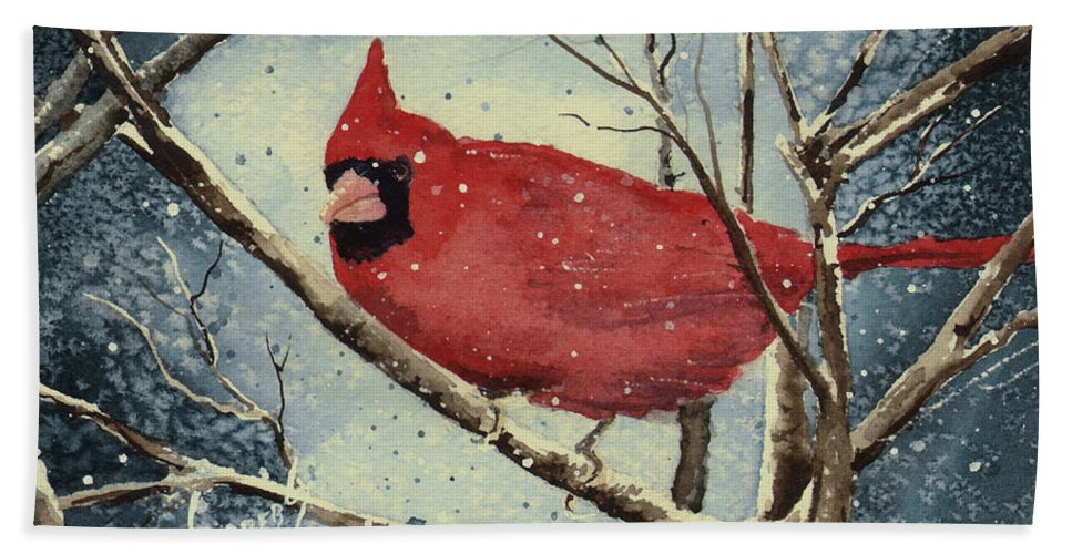 Cardinal Beach Towel featuring the painting Shelly's Cardinal by Sam Sidders