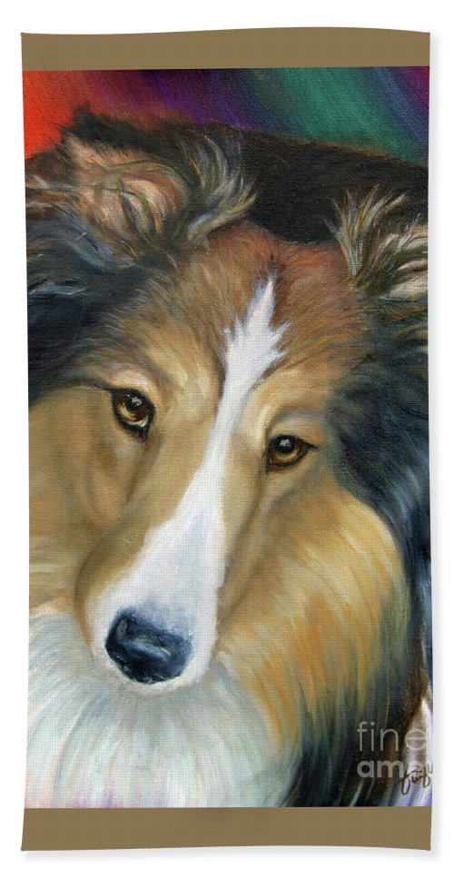 Fuqua - Artwork Beach Towel featuring the painting Sheltie - Collie by Beverly Fuqua