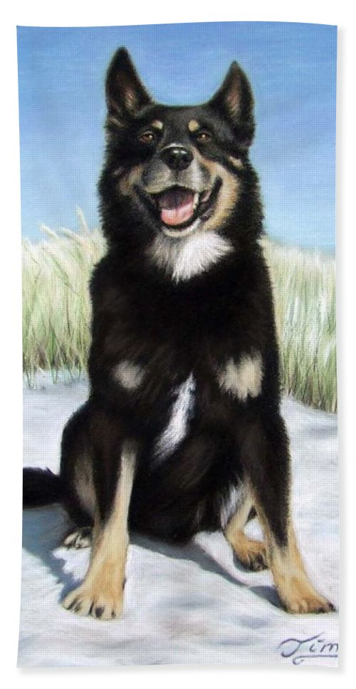 Dog Beach Towel featuring the pastel Shepherd Mix Timmy by Nicole Zeug