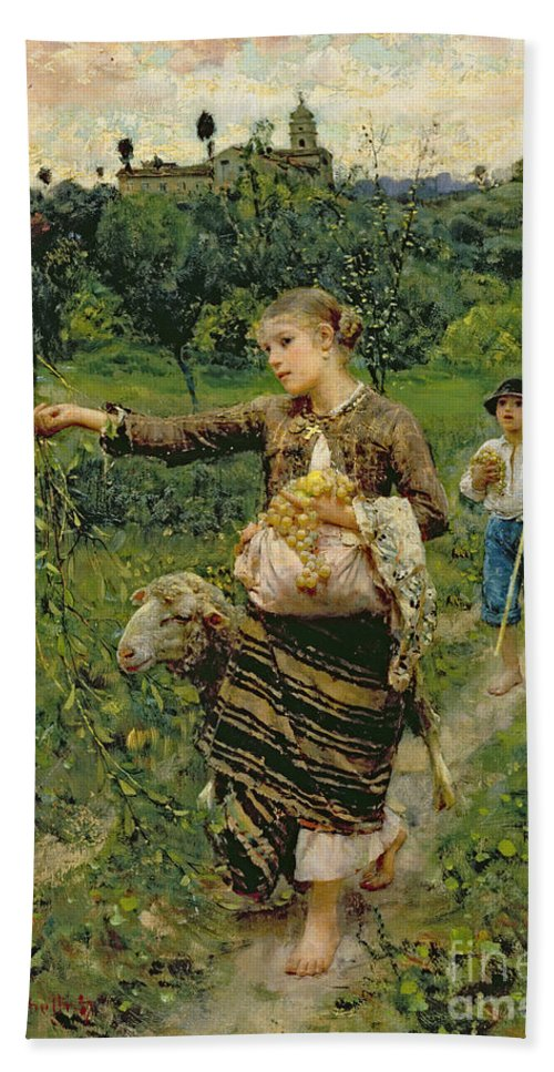 Shepherdess Beach Towel featuring the painting Shepherdess Carrying A Bunch Of Grapes by Francesco Paolo Michetti