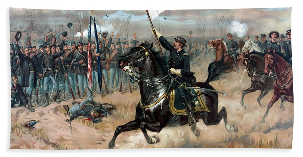 Sheridans Ride Beach Towel featuring the painting Sheridan's Ride by War Is Hell Store