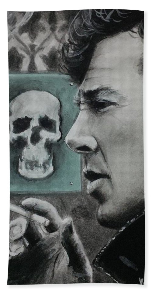 Sherlock Beach Towel featuring the painting Sherlock by Yelena Day