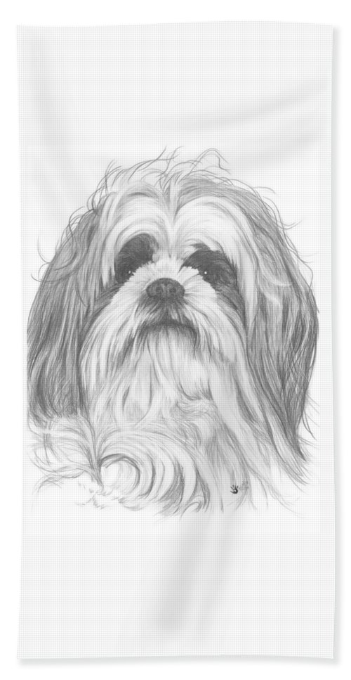 Designer Dog Beach Towel featuring the drawing Shih-poo by Barbara Keith