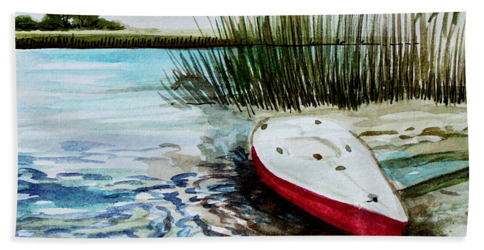 Landscape Beach Towel featuring the painting Ship Ahoy by Elizabeth Robinette Tyndall