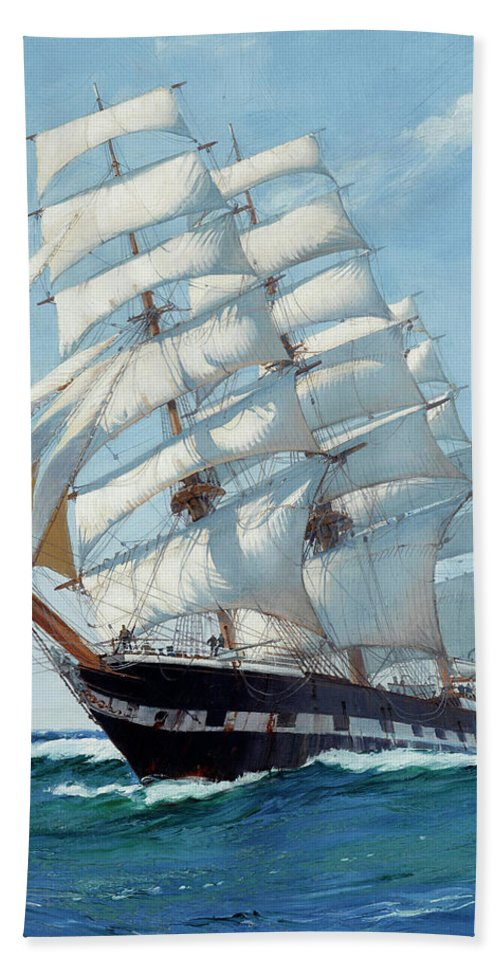 Horizon Beach Towel featuring the painting Ship Waimate - Detail by Montague Dawson