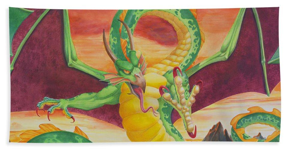 Dragon Beach Towel featuring the painting Shivan Dragon 3.0 by Melissa A Benson