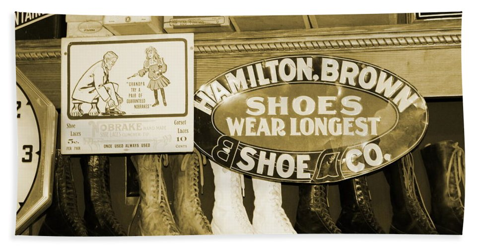 Ruddy's General Store Beach Towel featuring the photograph Shoe Shopping In The 30's by Colleen Cornelius