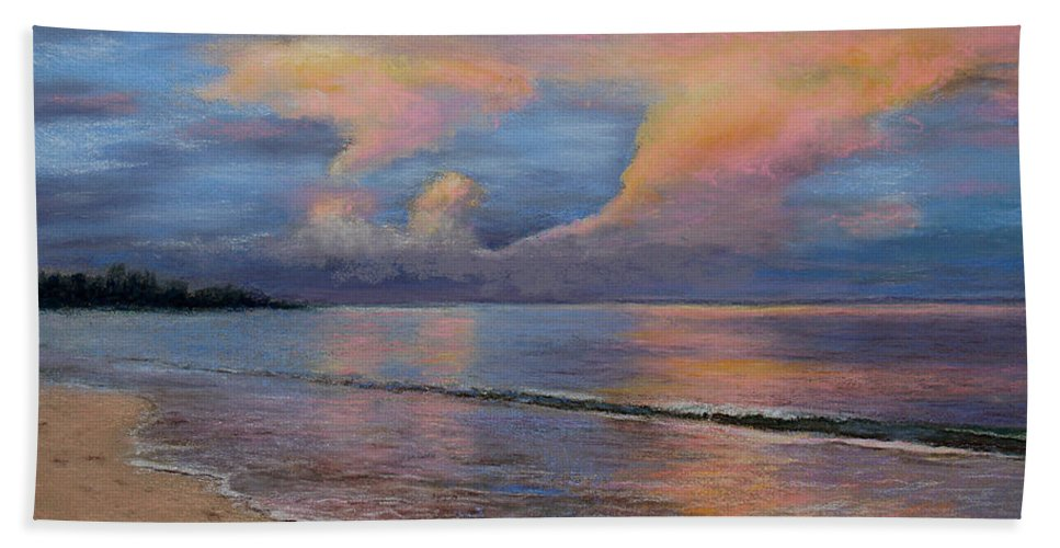 Landscape Beach Towel featuring the pastel Shore Of Solitude by Susan Jenkins