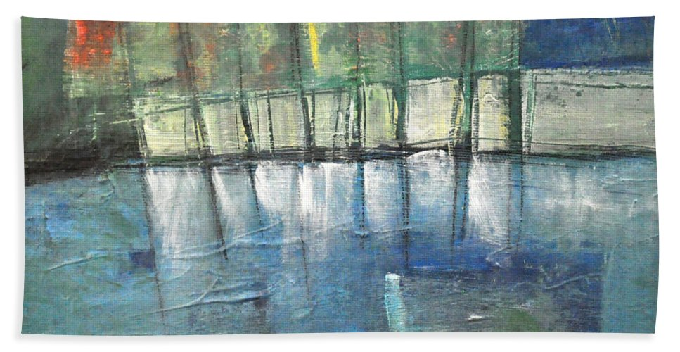 Shore Beach Towel featuring the painting Shoreline Reflections by Tim Nyberg