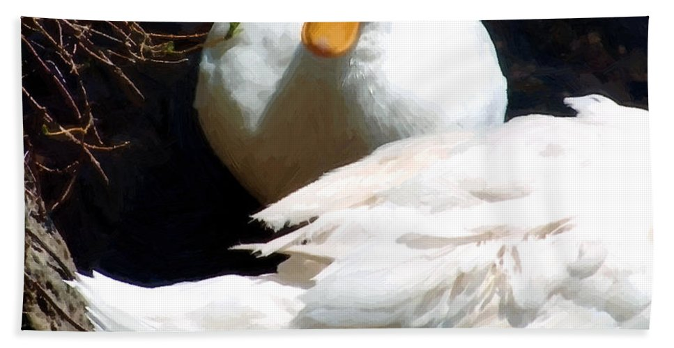 Duck Beach Towel featuring the painting Should I by RC DeWinter