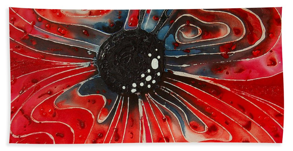 Poppy Art Beach Towel featuring the painting Show Stopper by Sharon Cummings