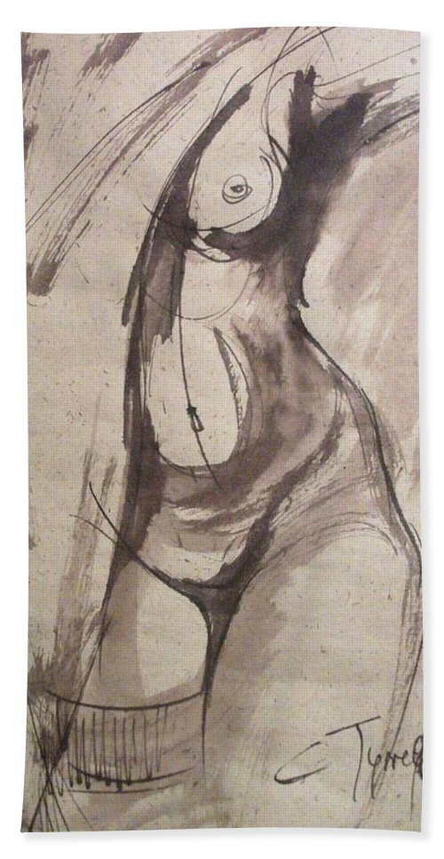Showing Figure Beach Towel featuring the painting Showing Figure - Sketch Of A Female Nude by Carmen Tyrrell