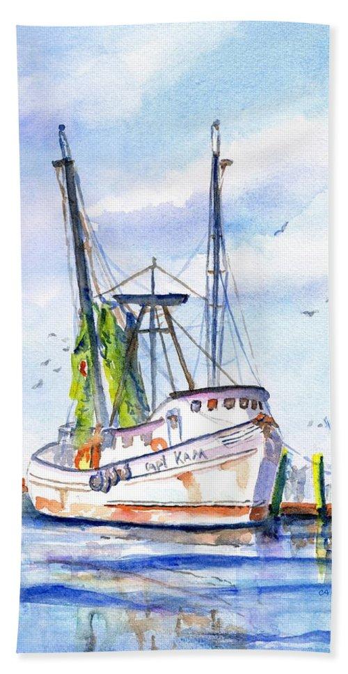 Shrimp Boat Beach Towel featuring the painting Shrimp Boat Gulf Fishing by Carlin Blahnik CarlinArtWatercolor