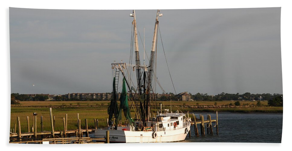 Photography Beach Towel featuring the photograph Shrimp Boat by Susanne Van Hulst