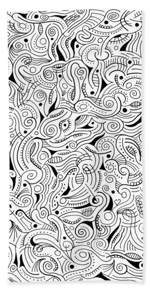 Abstract Beach Towel featuring the drawing shRMgaaragiita by Steven Natanson
