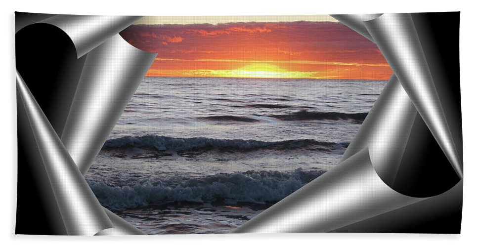 Sunset Beach Towel featuring the photograph Shutter-view by Douglas Barnard