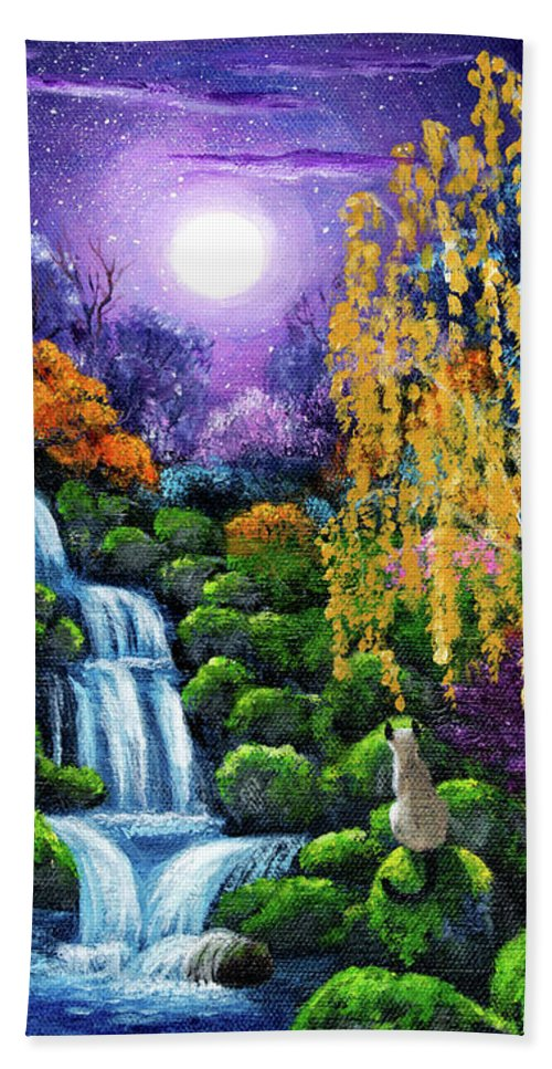 Japanese Beach Towel featuring the painting Siamese Cat By A Cascading Waterfall by Laura Iverson