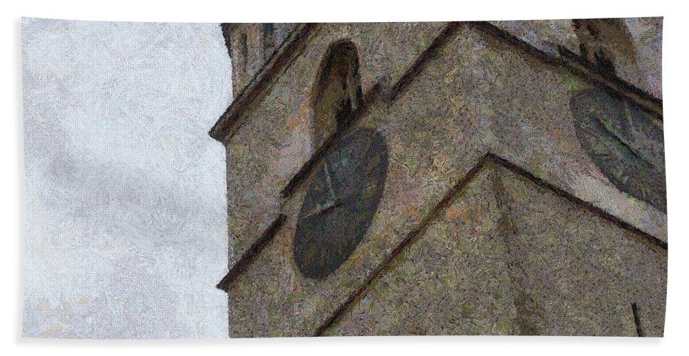 Sibiu Beach Towel featuring the painting Sibiu Clock Tower by Jeffrey Kolker
