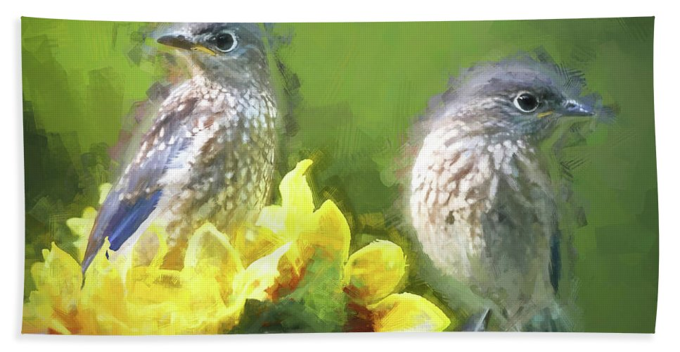 Bluebird Beach Towel featuring the photograph Siblings by Tina LeCour