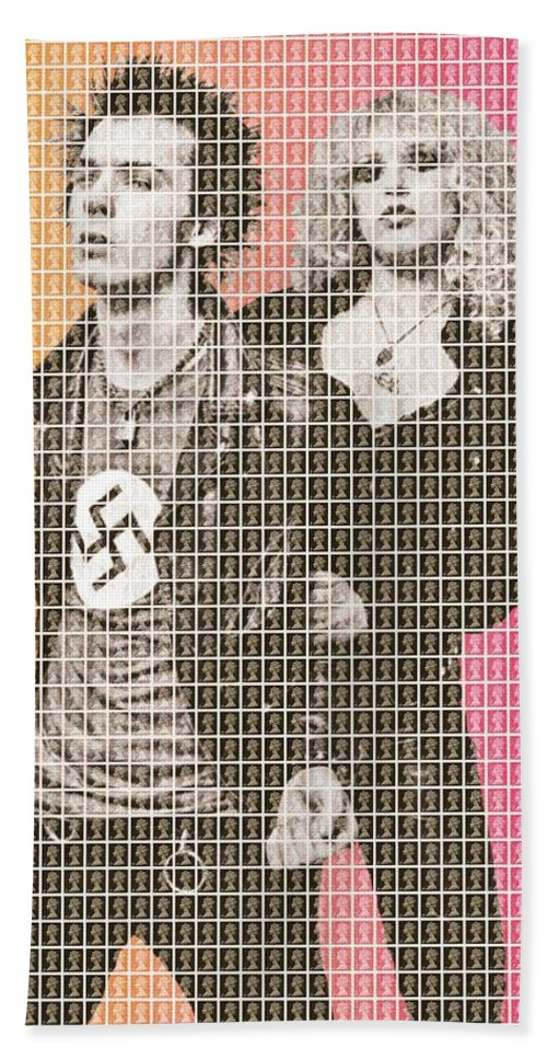 Sid And Nancy Beach Towel featuring the painting Sid And Nancy by Gary Hogben