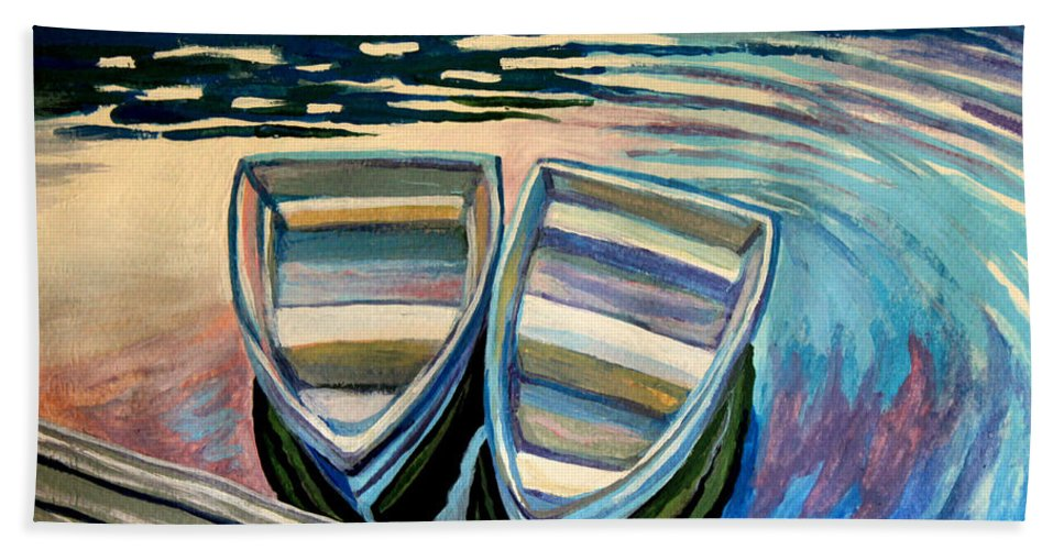 Boat Beach Towel featuring the painting Side By Side by Elizabeth Robinette Tyndall