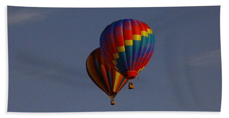 Balloons Beach Towel featuring the photograph Side By Side by Jeff Swan