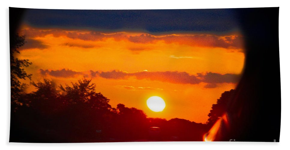 Sunset Beach Towel featuring the photograph Side Mirror Sunset by Kim Henderson
