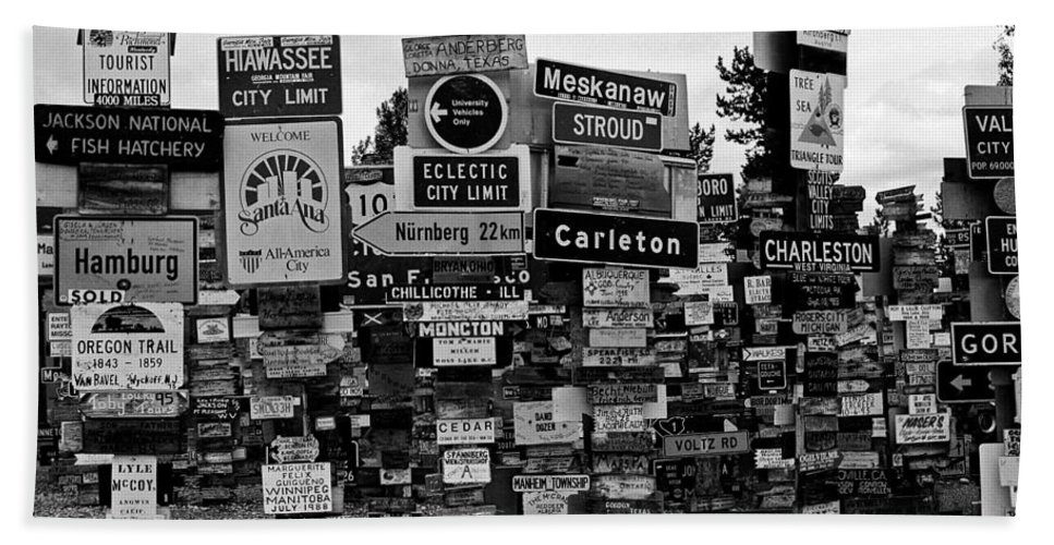 North America Beach Towel featuring the photograph Sign Post Forest by Juergen Weiss