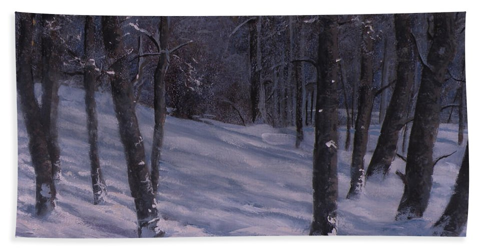 Western Art Beach Towel featuring the painting Silence by Mia DeLode