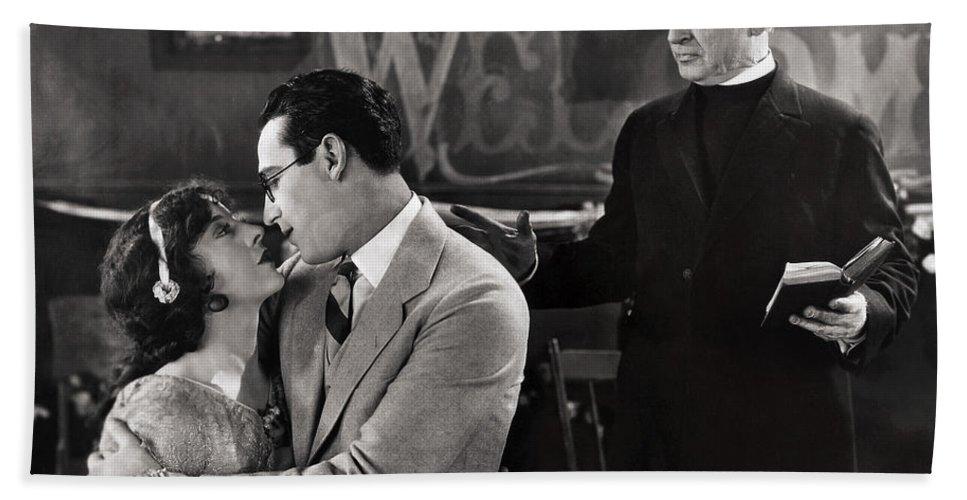 -nec09- Beach Towel featuring the photograph Silent Film Still: Wedding by Granger